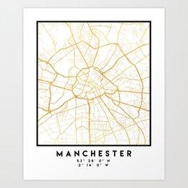MANCHESTER ENGLAND CITY STREET MAP ART Art Print