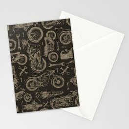 Dark Vintage Motorcycle Pattern Stationery Cards
