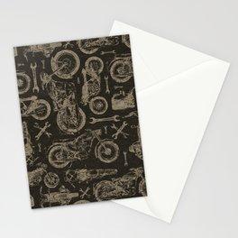 Dark Vintage Motorcycle Pattern Stationery Cards