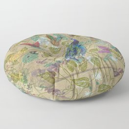 Vintage Ivory Green Blue Pink Peacock Collage Floor Pillow