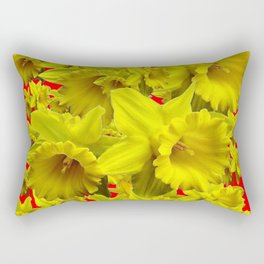 YELLOW SPRING DAFFODILS ON CHINESE RED ART Rectangular Pillow