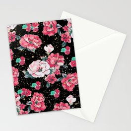 Cute hand drawn floral faux gold glitter drops pattern Stationery Cards