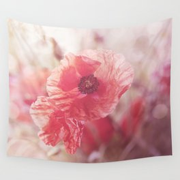 Romantic Poppy flower soft pastel colors Wall Tapestry