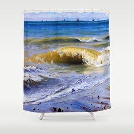 Johann Wilhelm Schirmer Breaking Waves Shower Curtain