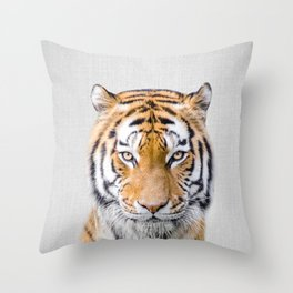 Tiger - Colorful Throw Pillow