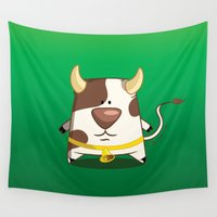 cow Wall Tapestries featuring Cow by jebirvoki