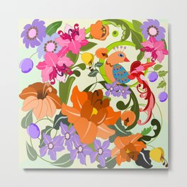 Damask Flowers, Leaves and Tropical Bird pillow Metal Print