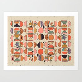 Retro Fruits Art Print