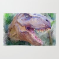 t rex Area & Throw Rugs featuring T-Rex by Heidi Perry