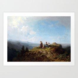 Carl Spitzweg Girls on a Pasture Art Print