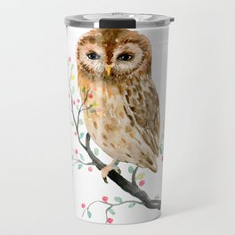 Watercolor Little Owl Portrait Travel Mug