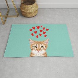 Mackenzie - Orange Tabby Cute Valentines Day Kitten Girly Retro Cat Art cell phone Rug