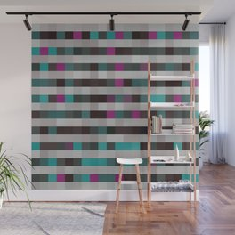 pixels pattern with colorful squares and stripes Wall Mural