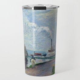 "Camille Pissarro ""The Oise near Pontoise in Grey Weather"" Travel Mug"