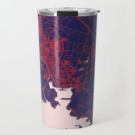 Cartagena, Spain, Blue, White, City, Map Travel Mug
