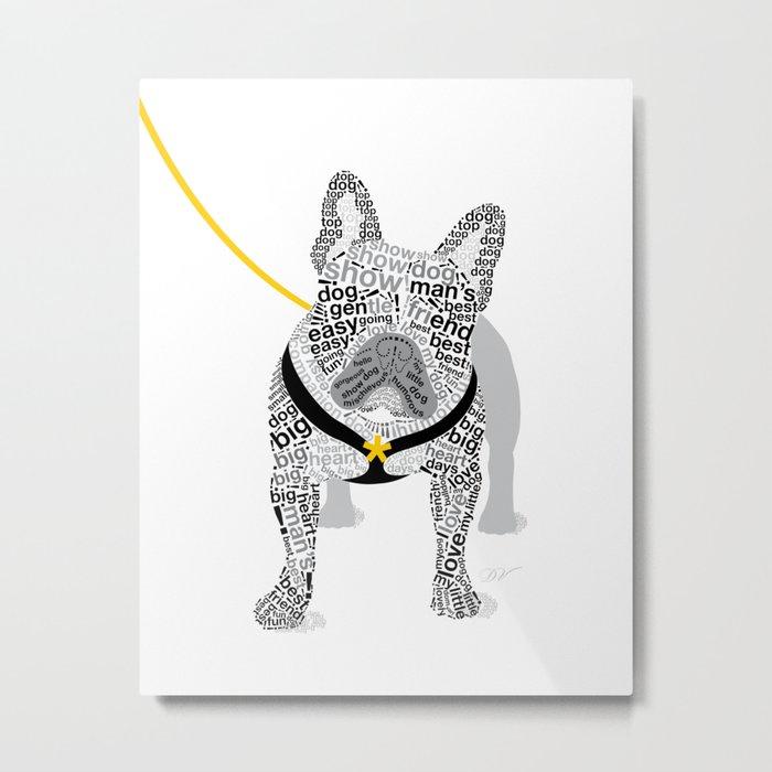 Typographic French Bulldog - Black and White Metal Print