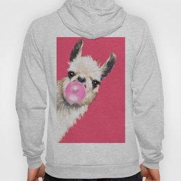 Bubble Gum Sneaky Llama in Red Hoody