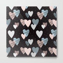 Cute Hearts Pattern Metal Print