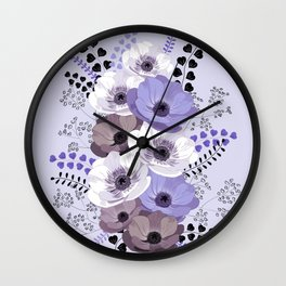 Anemones bouquet in blue Wall Clock