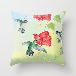 Colorful Hummingbirds and Hibiscus  Throw Pillow