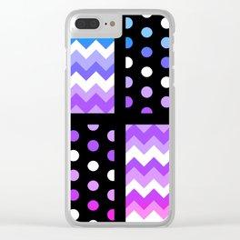 Multi-Color Gradient Chervon/Polkdot Pillow 1 Clear iPhone Case