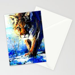 portrait of a creepin' cougar, in orange and blue Stationery Cards