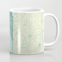 tennessee Mugs featuring Tennessee State Map Blue Vintage by City Art Posters