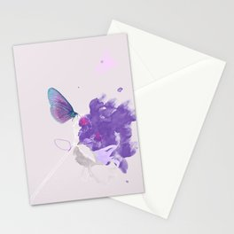Purple butterfly & flower watercolor illustration painting Stationery Cards