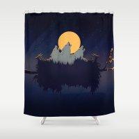 sound Shower Curtains featuring Midnight Sound by Schwebewesen • Romina Lutz