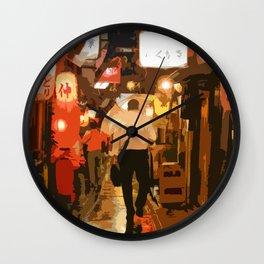 Salaryman Wanders Home Through Shinjuku,Tokyo Wall Clock