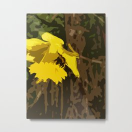 Stylised Bee on a Daffodil Metal Print