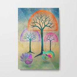 Moon Bird Forest Metal Print