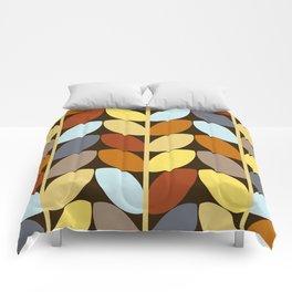 Retro 70s Color Palette Leaf Pattern Comforters