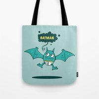 bat man Tote Bags featuring Bat Man Bat by Drew