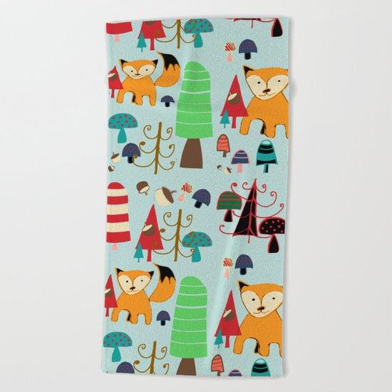 Woodland fox blue Beach Towel