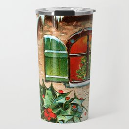 Merry Christmas Vintage 1900 Card Travel Mug