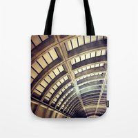 washington dc Tote Bags featuring Petworth Metro (Washington, DC) by Carsick T-Rex