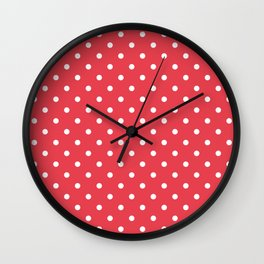 Coral Orangey-Red with White Polka Dots Wall Clock
