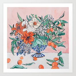 California Summer Bouquet - Oranges and Lily Blossoms in Blue and White Urn Art Print