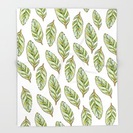 Calathea leaves_Hand Painted watercolour & ink Throw Blanket