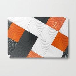 Pattern of black, white and orange cubes Metal Print