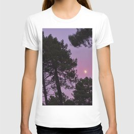 Moon through the trees. Into the woods at sunset T-shirt