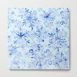 Modern Geometric Winter Snowflake Design Metal Print