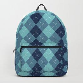 Navy Blue Classic Argyle Diamond Plaid Pattern Backpack