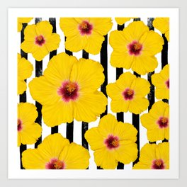 Summer Hibiscus Fun on Black & White Stripes Art Print