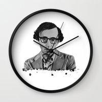 woody allen Wall Clocks featuring Woody Allen by OnaVonVerdoux