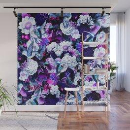 hummingbird paradise ethereal autumn flower pattern c80 Wall Mural
