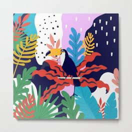ABSTRACT TROPICAL JUNGLE AND TOUCAN BIRD PATTERN Metal Print