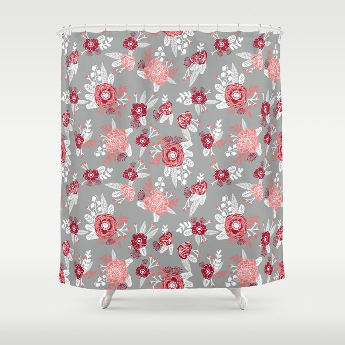 Floral Bama Alabama Crimson Tide Gifts For University Of Students And Alumni Shower Curtain