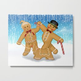 Gingerbread Family Winter Fun Metal Print